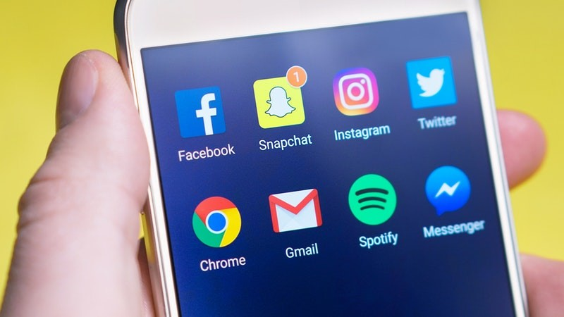social media apps displayed on a smartphone screen