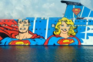 Superman and Woman Painted on a Boat