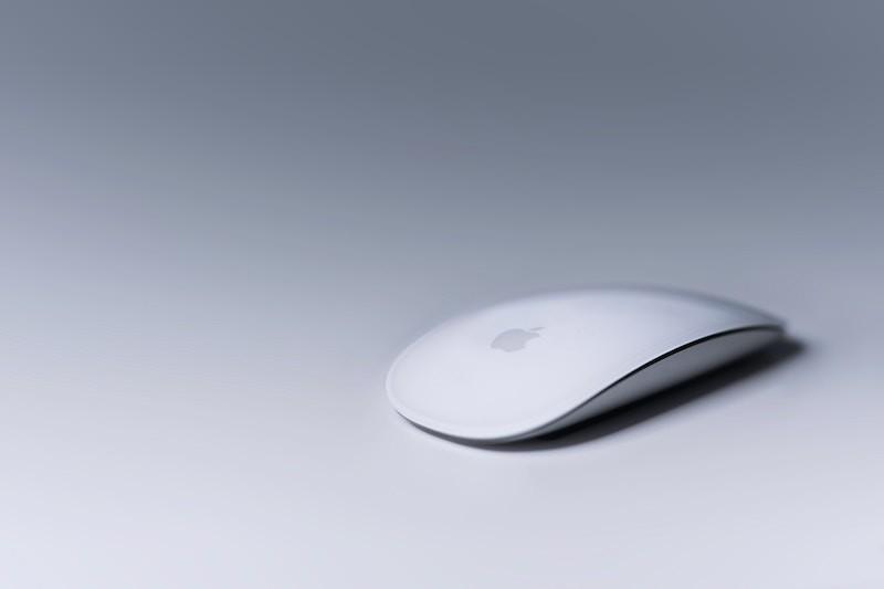 White-Apple-Mouse-in-Gray-Light