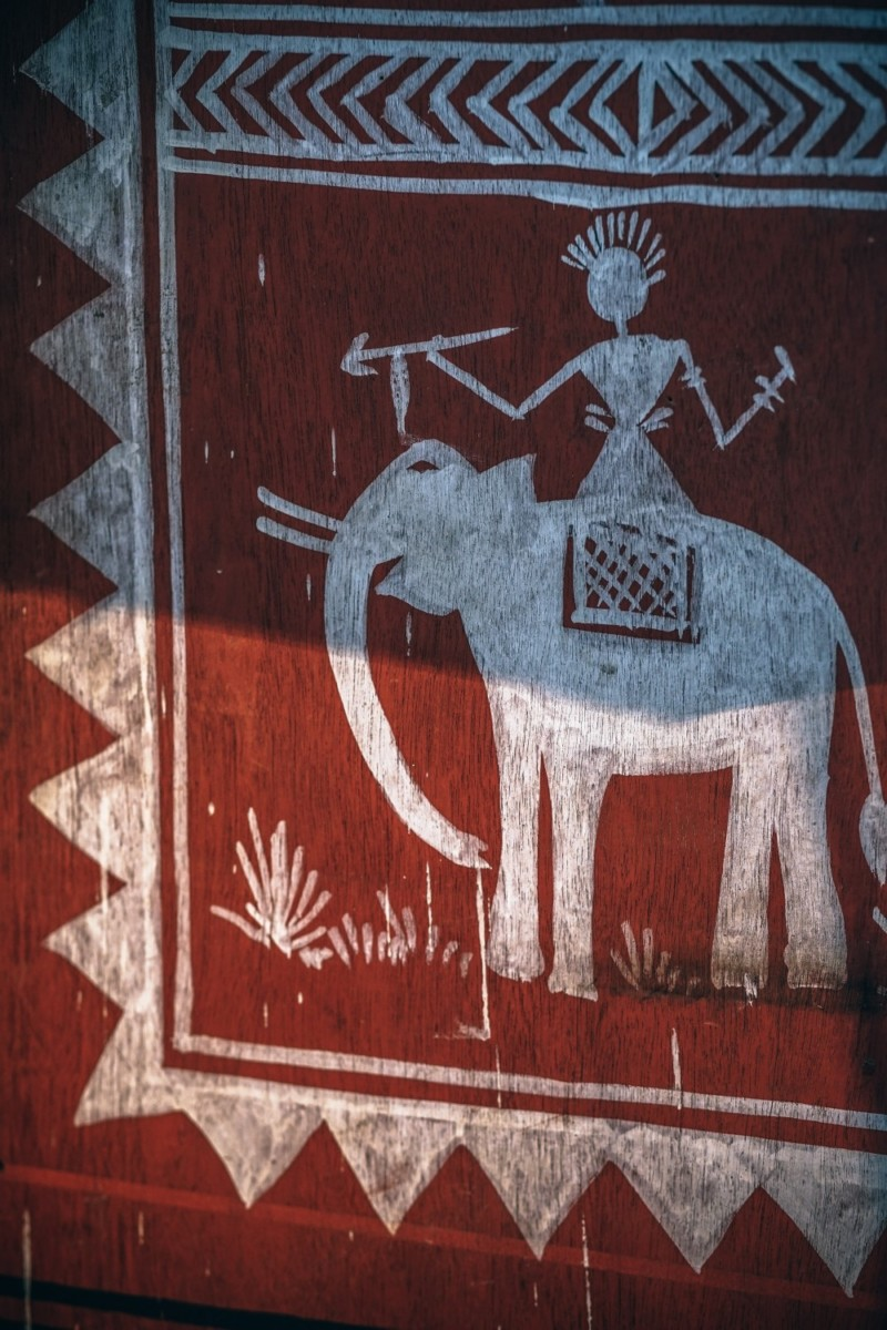 Red Tribal Elephant Painting on Wood