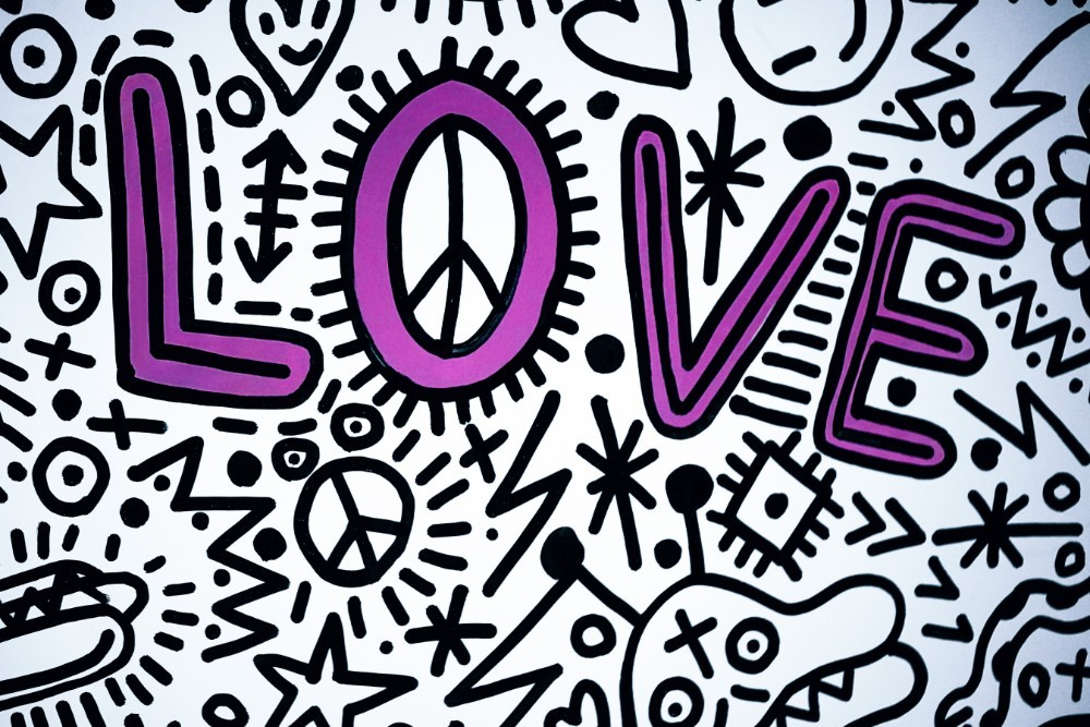 Black and White Doodle Art with Pink Love Text