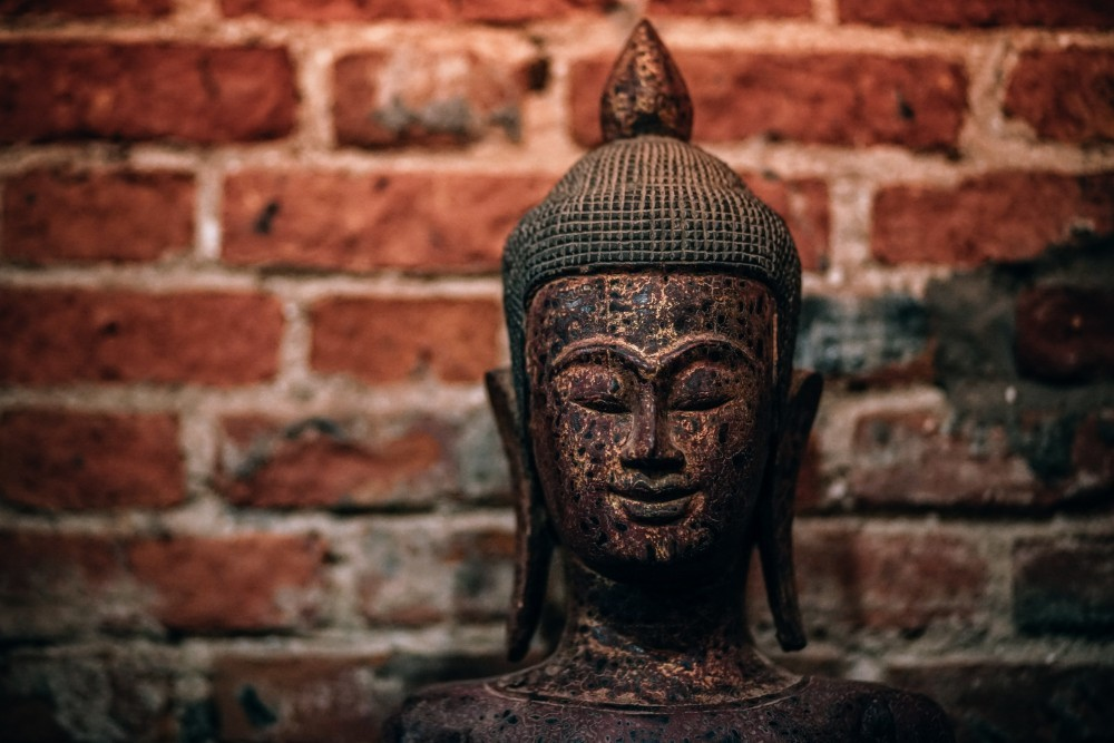 Hand Carved Wooden Buddha Head Statue