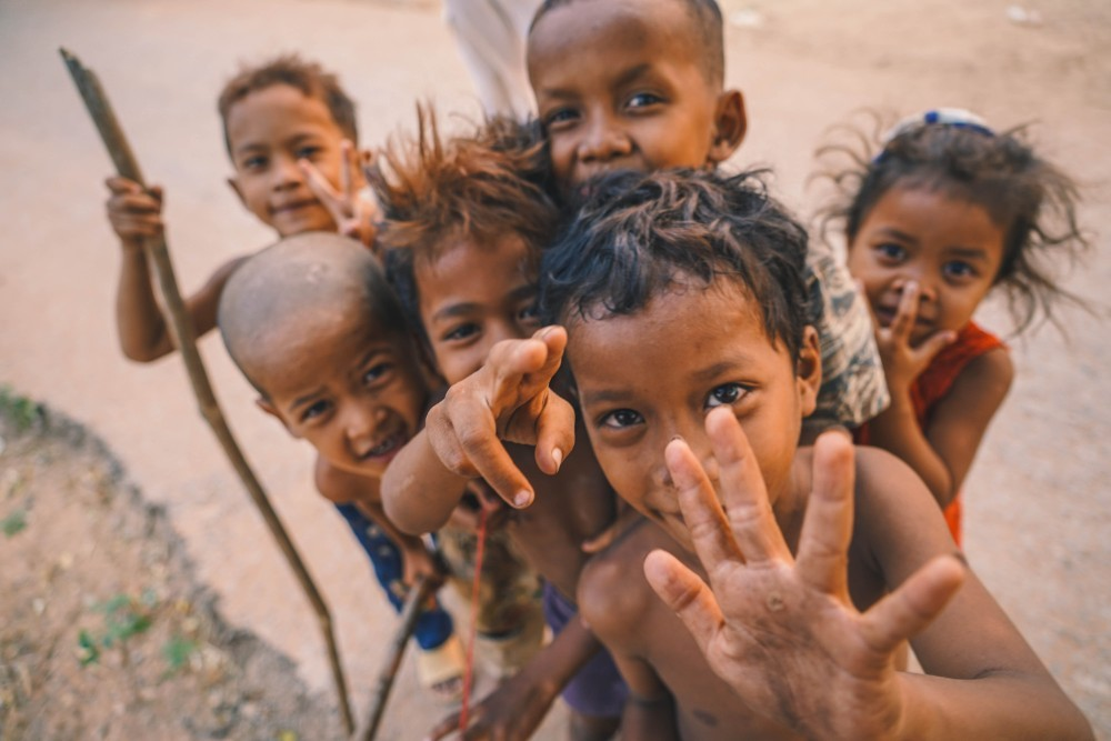 Kids from Countryside in Cambodia Smiling at the Camera