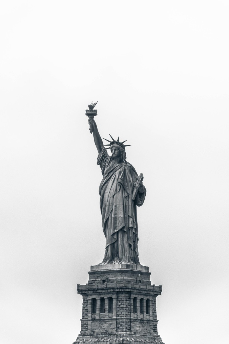 Black and White Photograph of the Statue of Liberty