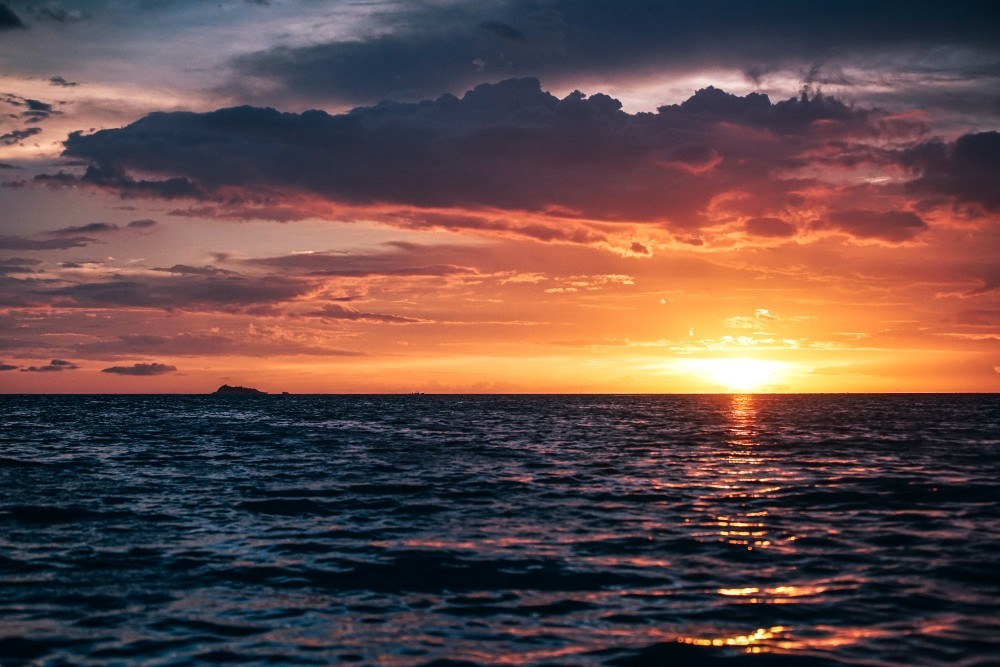 Deep Sunset over the Sea in Thailand