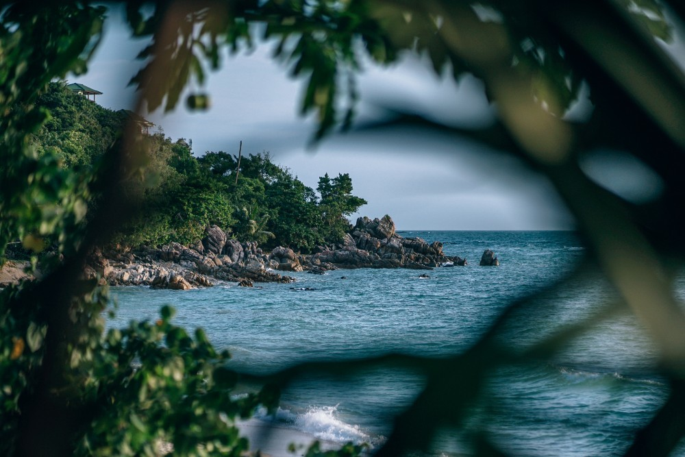 Secret-Beach-in-Thailand-Seen-Through-Tropical-Leaves