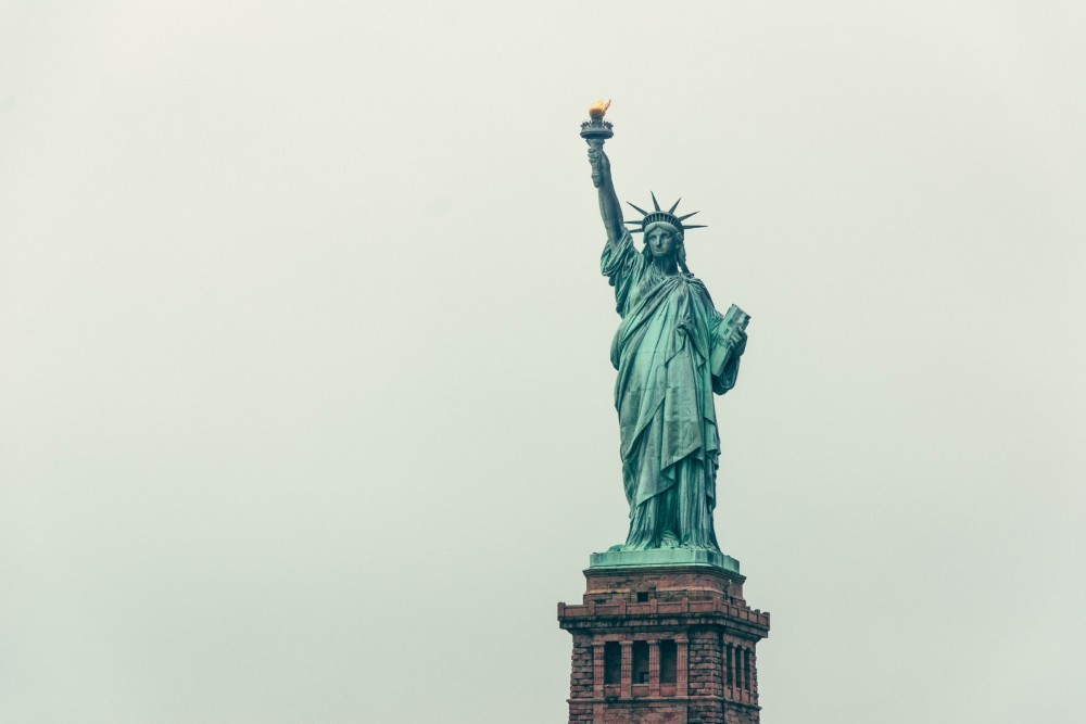 The Statue of Liberty with the Grey Sky in the Background
