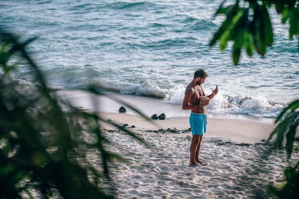 Tourist-Taking-a-Selfie-on-a-Thailand-Beach