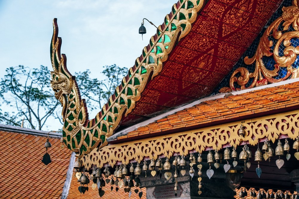 Bells Hanging Down From The Roof Of The Doi Suthep Temple