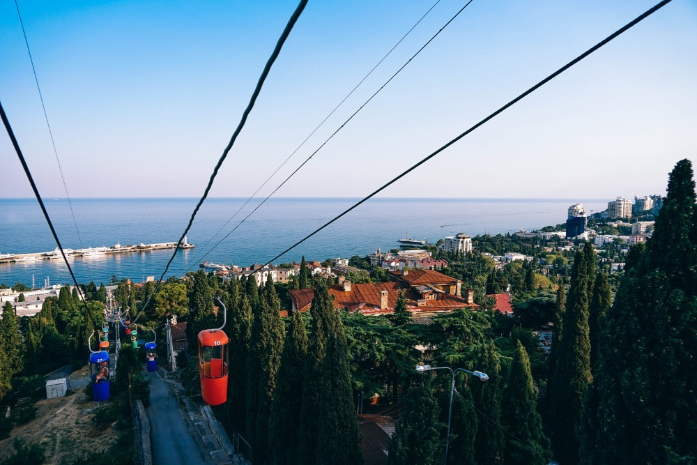 Cableway Going Down to the Beach in Yalta
