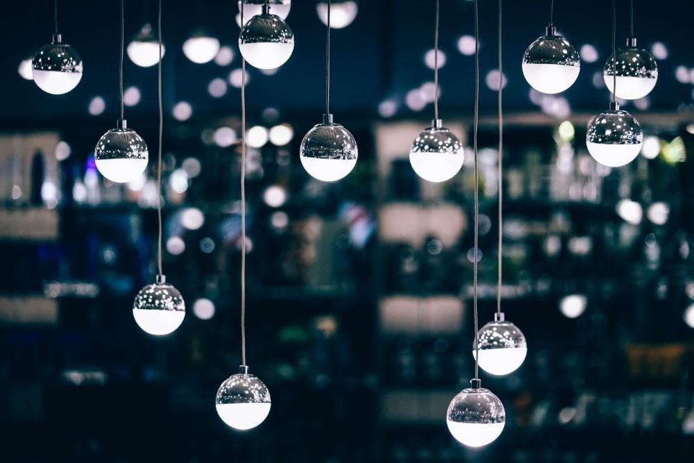 Close-up-Shot-of-Decorative-Light-Drops