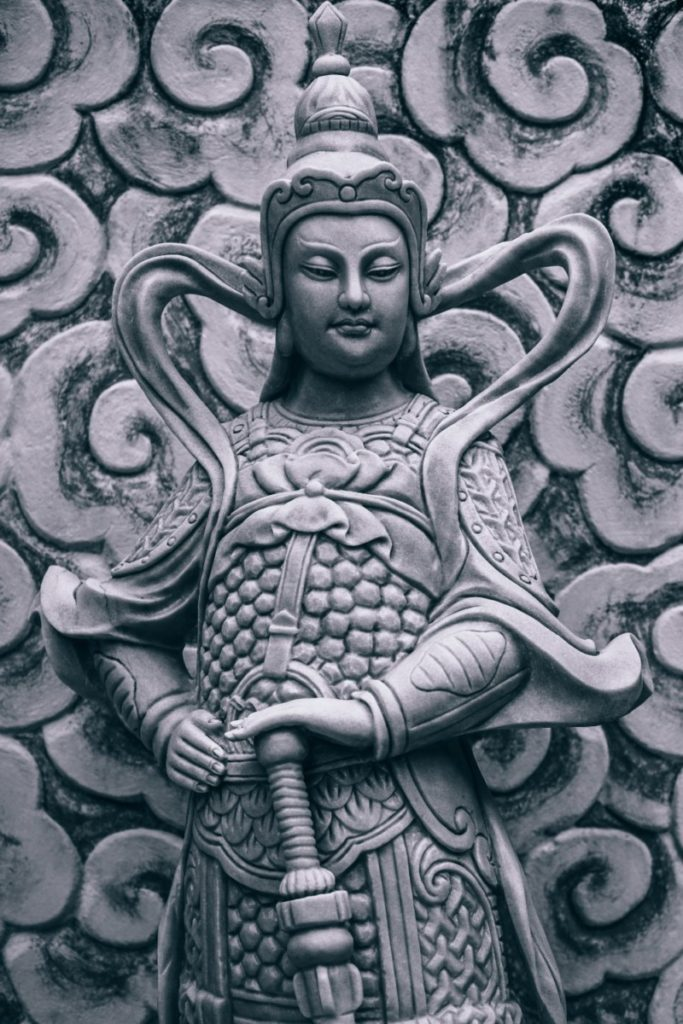Close-up Shot of a Buddhist Warrior Statue