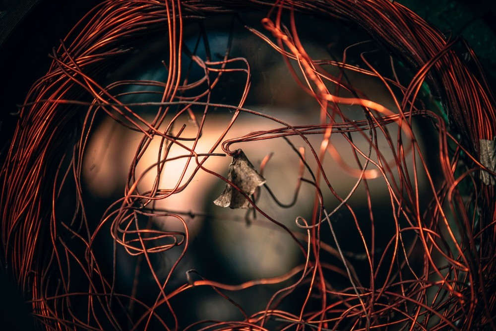 Close-up Shot of a Tangled Copper Wire
