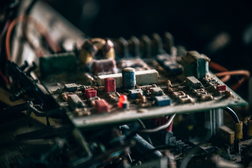 Close-up Shot of a Vintage Circuit Board