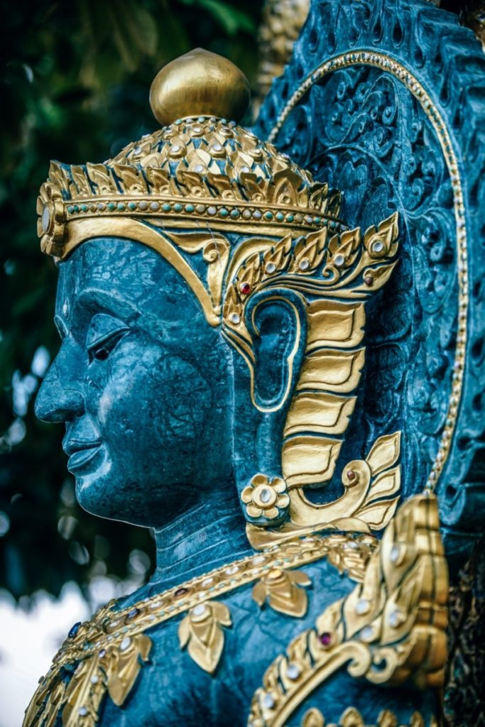Close up Shot of the Face of a Buddhist Statue