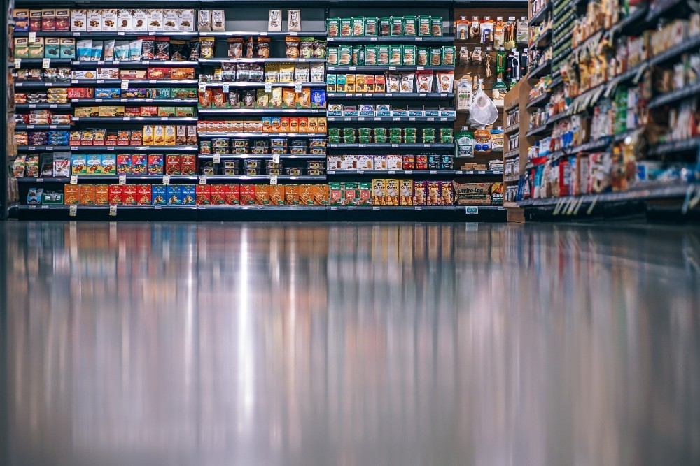 Grocery Store Shelves Photographed from the Floor
