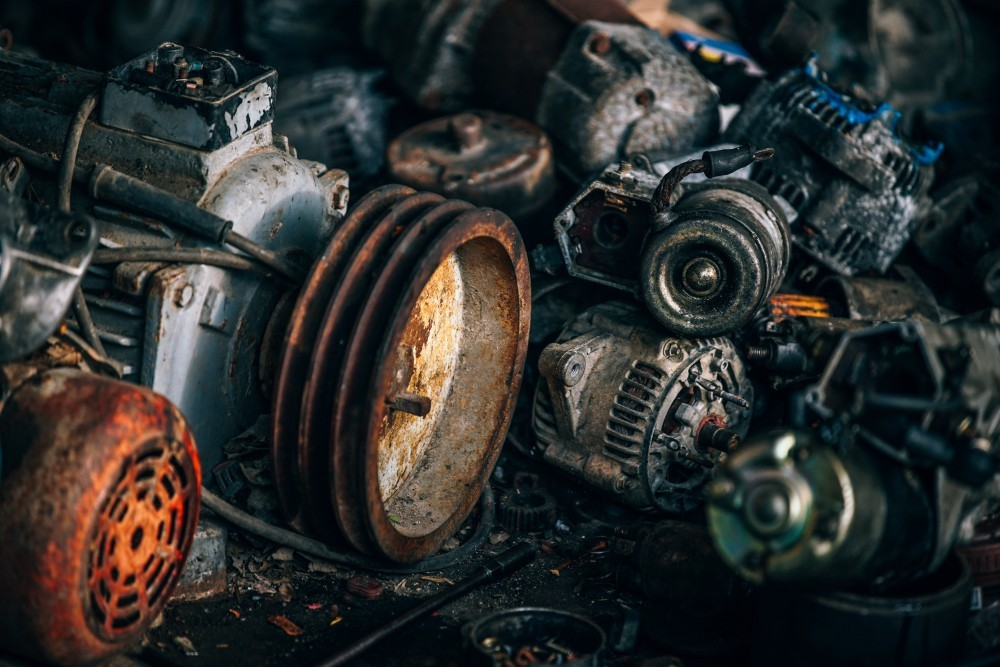 Many Different Automotive Parts at a Scrape Yard