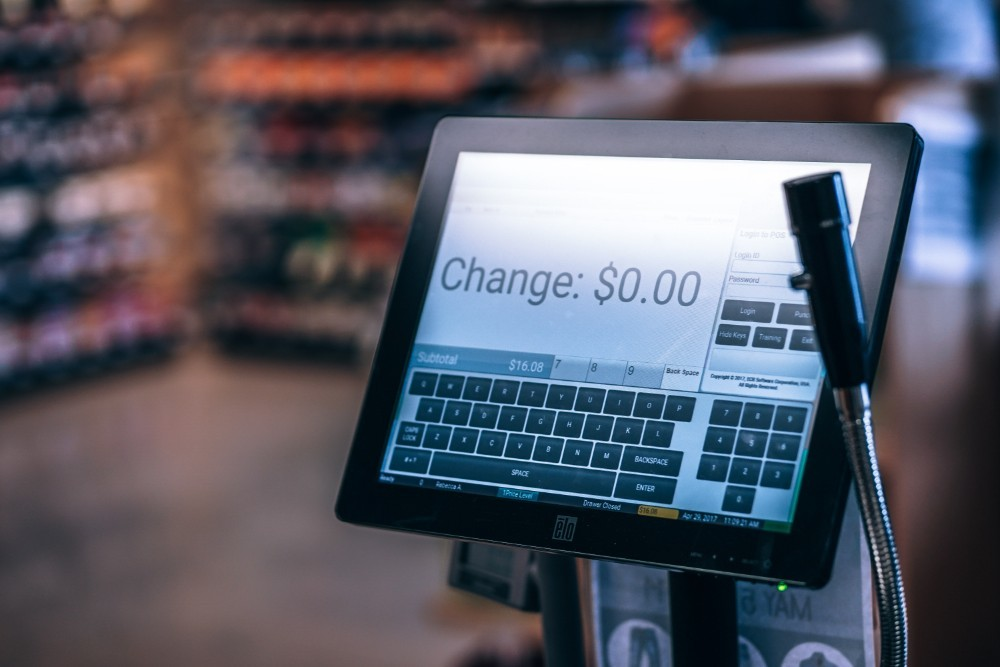Modern Cash Register with a Touch Screen