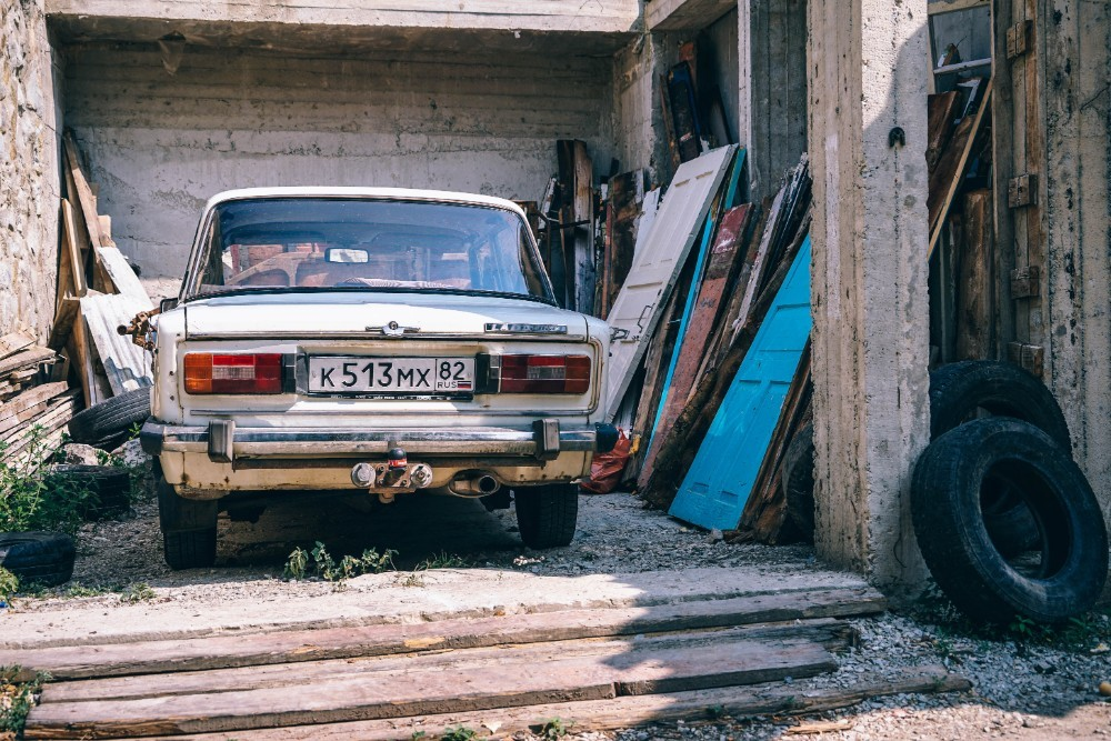 Old-White-Lada-Parked-in-front-of-a-House-in-Yalta