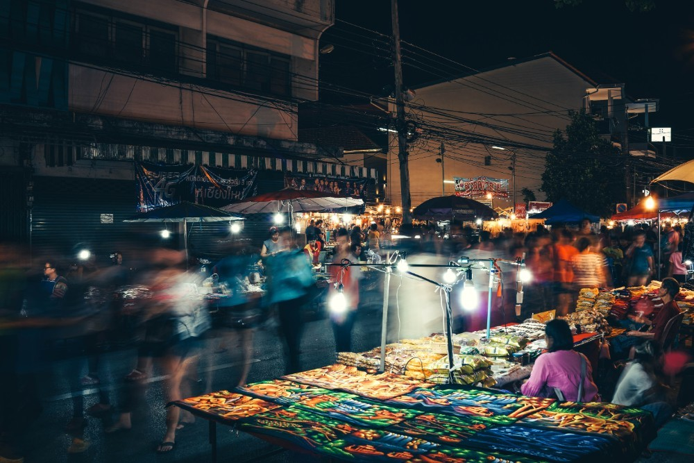 Rush Hour at the Night Market in Chiang Mai