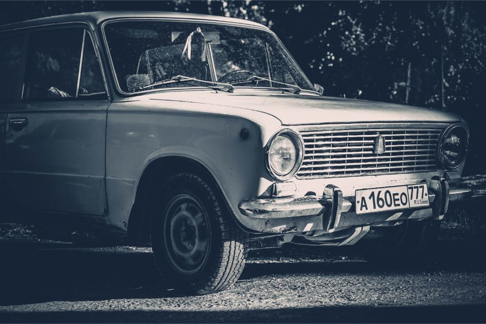 Black and White Photography of a Vintage Car