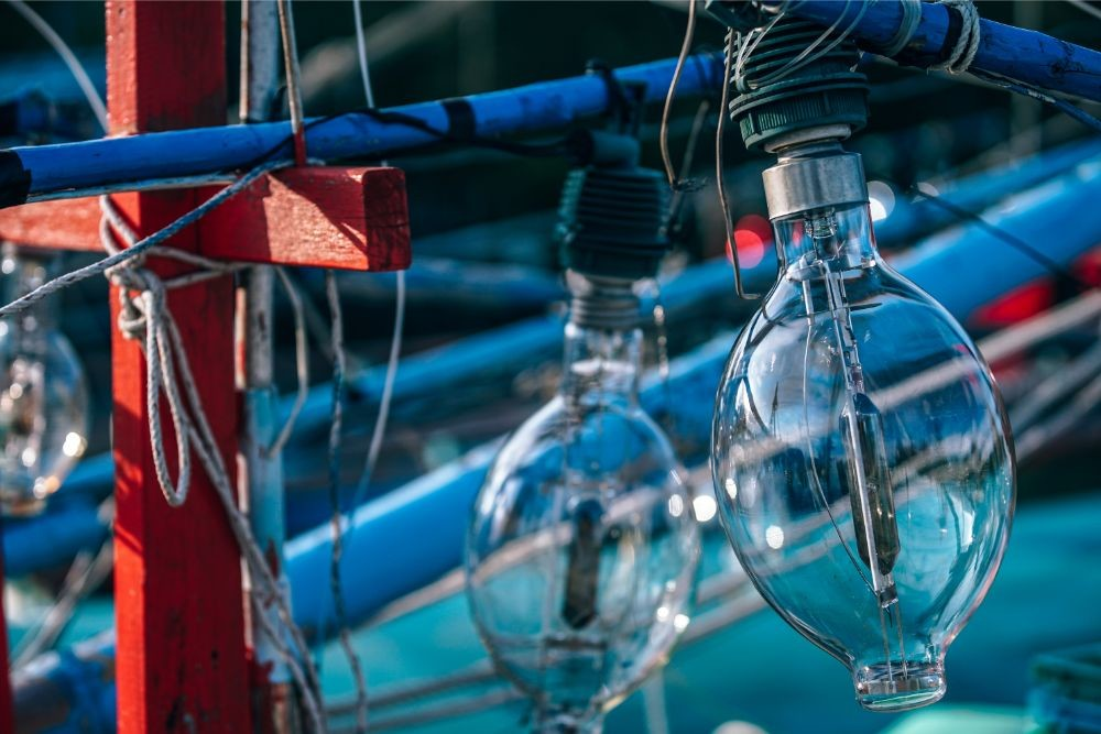 Close-up-Shot-of-Giant-Light-Bulbs-on-a-Fishing-Boat