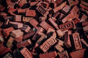 Close up Shot of Orange Construction Bricks