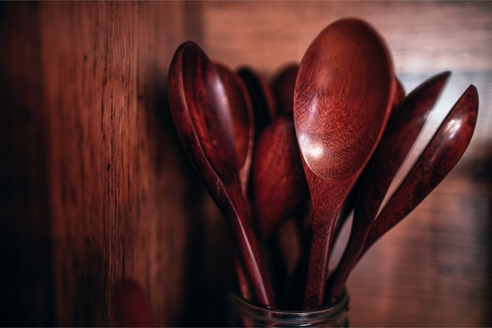 Close-up-Shot-of-Wooden-Thai-Spoons