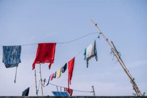 Colorful Clothes Drying on a Clothesline