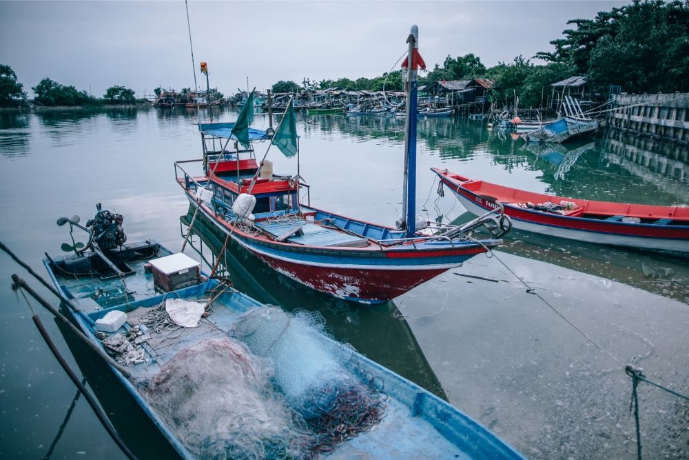 Docked-Fishing-Boats-in-Koh-Phangan-Thailand