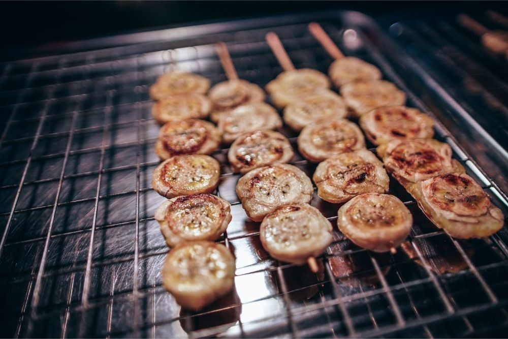 Grilled Bananas on Wooden Sticks