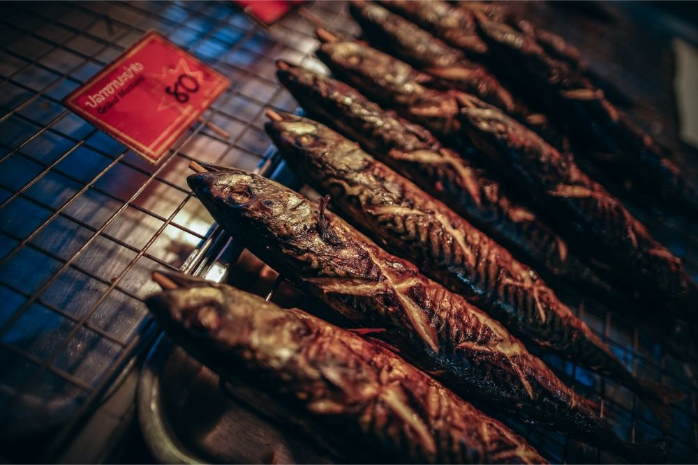 Grilled Fish for Sale at the Phantip Night Market in Koh phangan