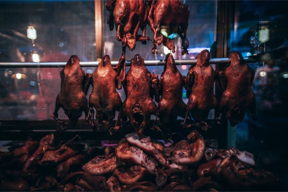 Hanging Rotisserie Ducks for Sale at the Phantip Night Market