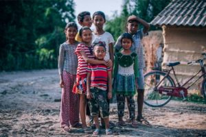 Happy Nepali Village Kids Posing for a Photograph