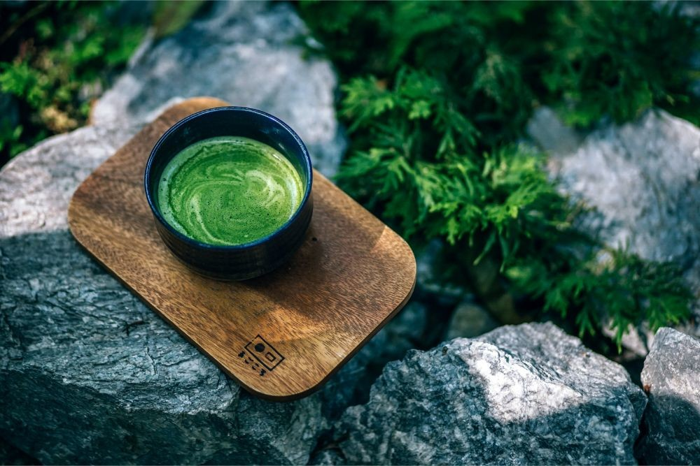 Matcha Tea Served on a Wooden Board in Magokoro Japanese Teahouse