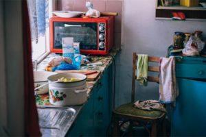 Preparing Lunch in an Old Kitchen