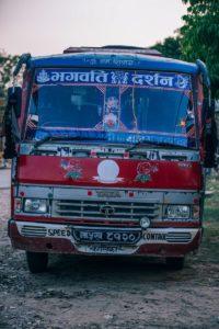 Retro Bus in a Nepali Village