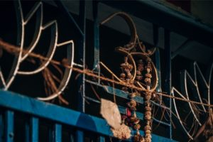Stunning Om Metal Symbol on a House Door