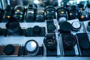 High Angle View of Camera Lenses for Sale