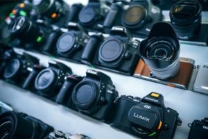 Professional Cameras for Sale in an Electronics Shop