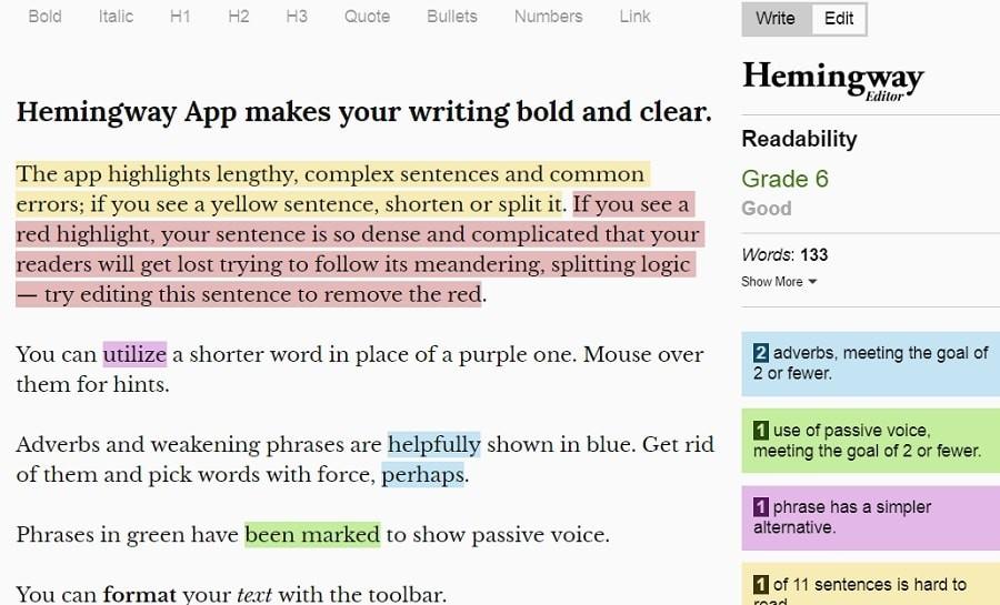 Hemingway grammar tools