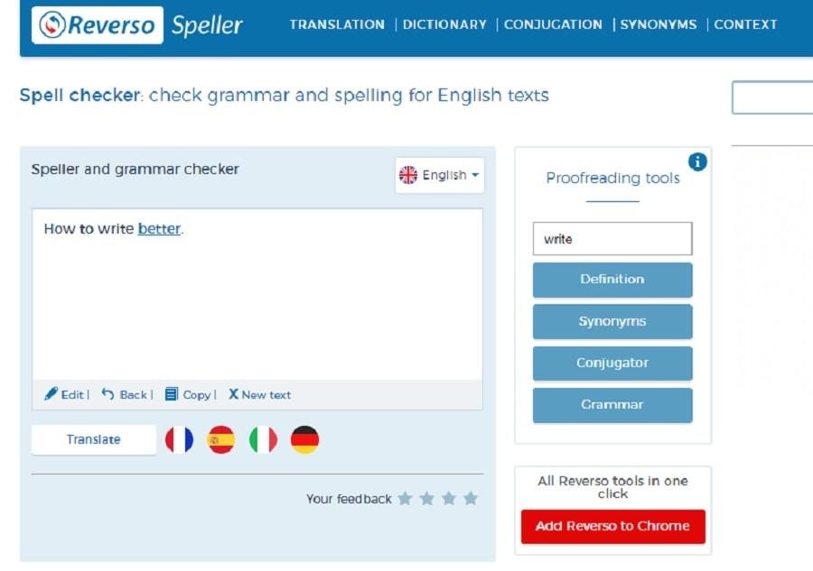 Reverso grammar tools
