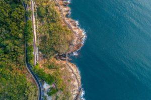 aerial of coast and sea landscape PYAWQS