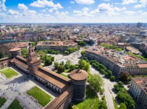 aerial photography view of sforza castello castle PNYHE
