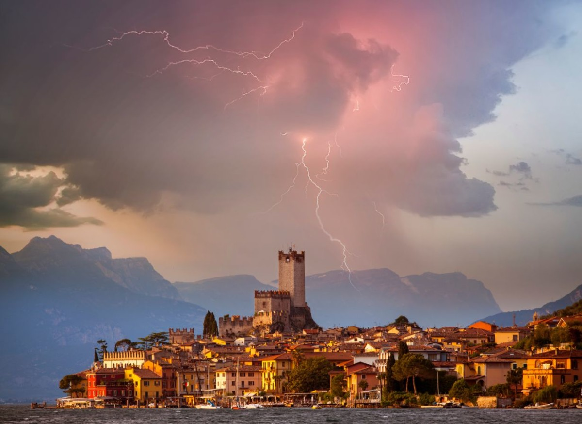 malcesine in storm italy MSUYA
