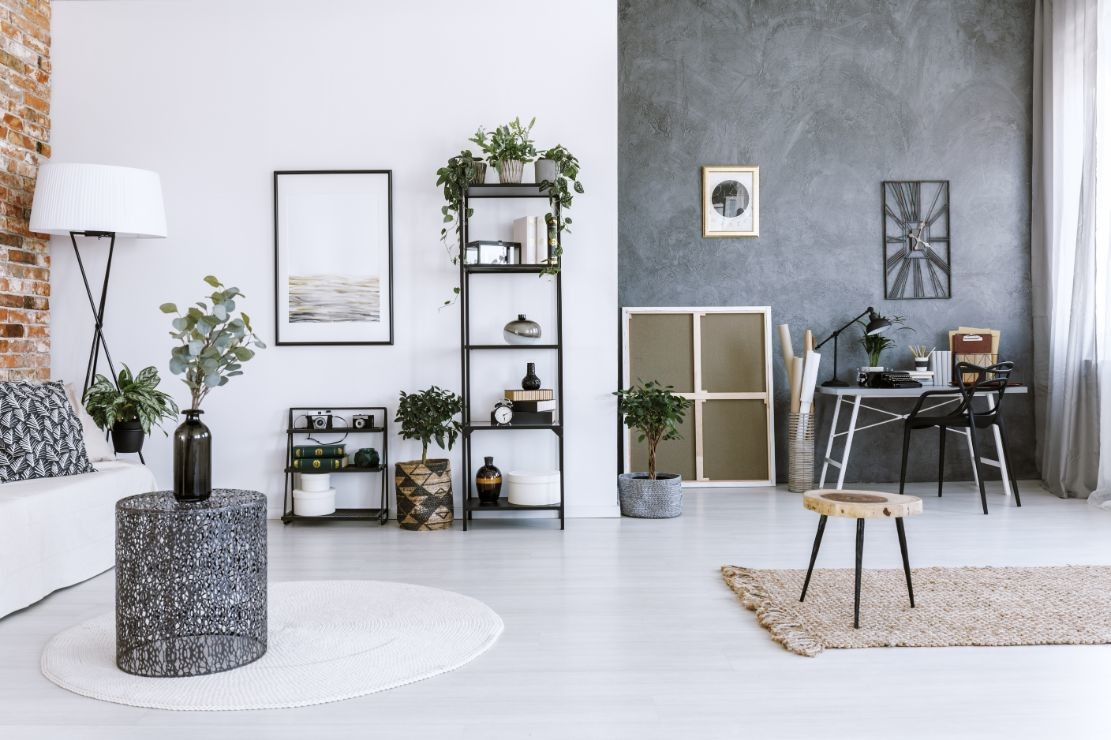 grey home office with plants PCKUJP