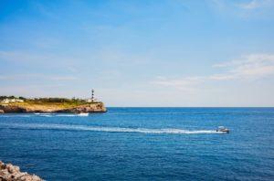 seascape with portocolom lighthouse mallorca FUGJPBH