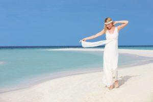 bride at beautiful beach wedding PUFS