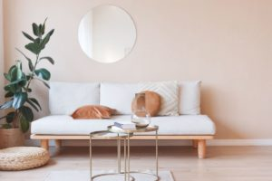 living room nterior with sofa mirror and ficus WVPLB
