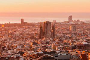 sunrise view of barcelona spain panoramic view of VKJZYA